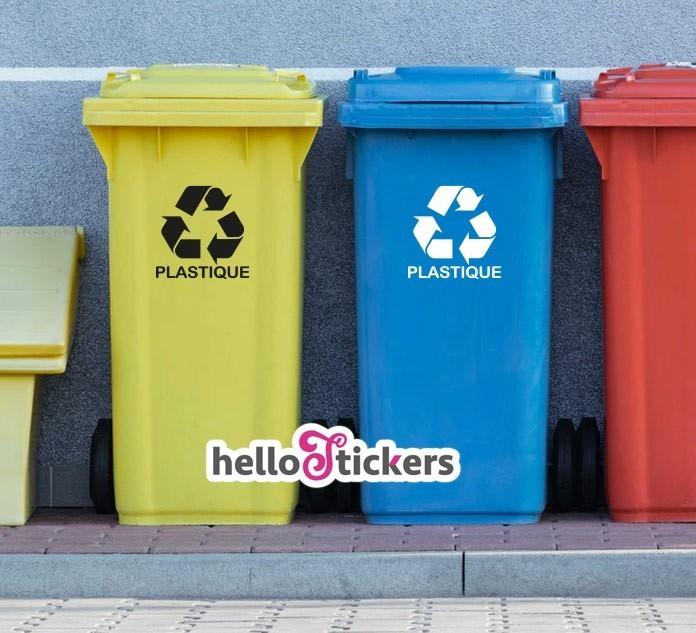 Stickers autocollants pictogramme recyclage plastique pour poubelle noir blanc