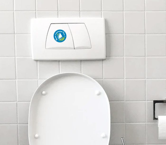stickers autocollant environnement economiser eau chasse d'eau wc toilettes