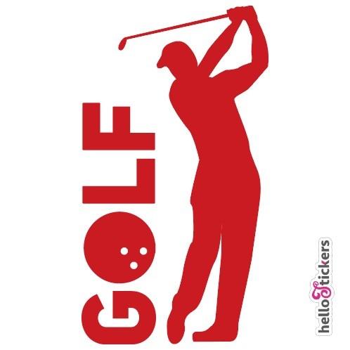 stickers autocollant golf golfeur pour voiture ordinateur pc mac rouge