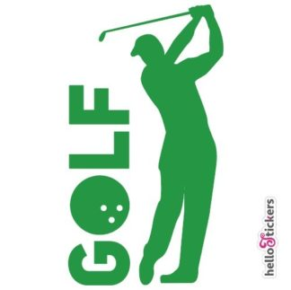 stickers autocollant golf golfeur pour voiture ordinateur pc mac vert