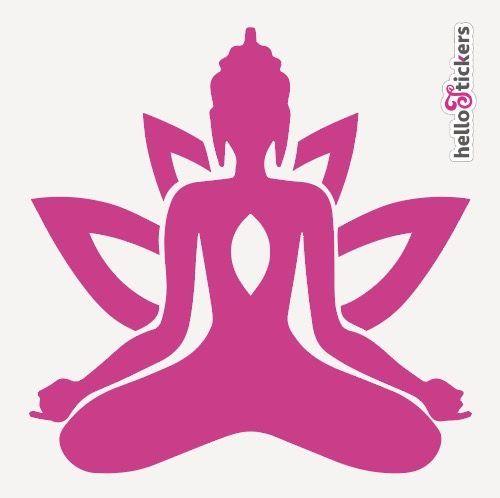 autocollant-bouddha-zen-avec-fleur-de-lotus-rose-violet