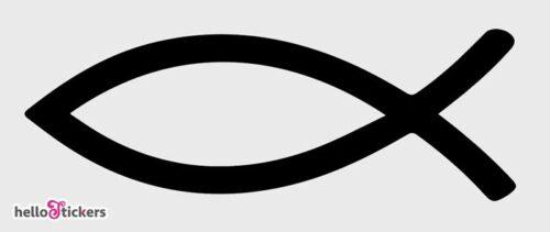 autocollant sticker poisson Ichtus signe chrétien pour protection voiture