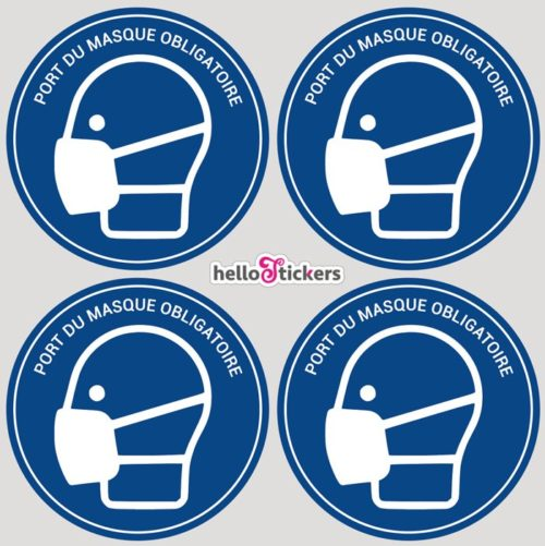 4 Stickers autocollants port du masque obligatoire coronavirus covid19 pour entreprise commerce en planche