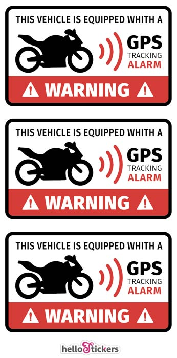Lot de 3 stickers autocollants alarme pour motos ou scooter GPS tracking Alarm