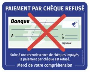 autocollant-paiement-par-cheques-refuses-sticker Affichez sur votre vitrine les moyens de paiement disponibles, acceptés ou non dans votre commerce.