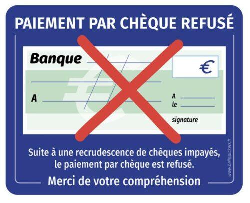 Autocollant paiement par chèques refusés sticker
