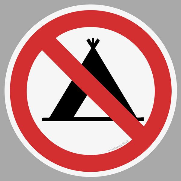 sticker autocollant camping interdit interdiction de faire du camping sur ce terrain étiquette