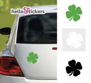 sticker_autocollant_treffle-a-4-feuilles_chance vert noir blanc