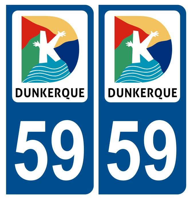 Adhésifs stickers plaque 59 Dunkerque blason Département 59 pour d'immatriculation auto