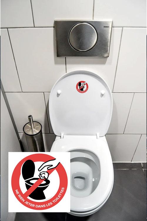 Sticker ne rien jeter dans les toilettes autocollant ne rien jeter dans les wc – réf 030920