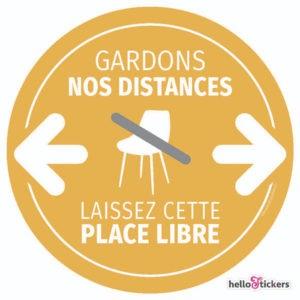 Sticker adhésif autocollant Laissez cette place libre, gardons nos distances geste barrière
