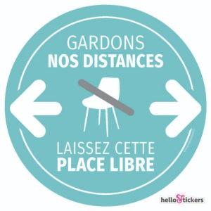 Sticker adhésif Laissez cette place libre, Laisser ce siège libre gardons nos distances geste barrière autocollant