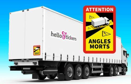 Lot de 2 stickers autocollants attention angles morts poids lourd pour camion officiel ref. 220121