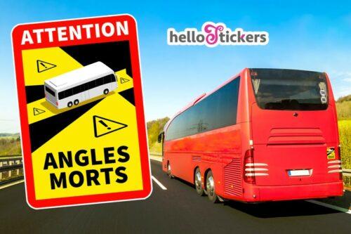 Lot de 2 autocollants stickers attention angles morts poids lourd pour bus car officiel ref. 250121