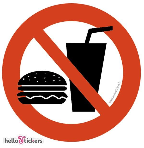 sticker autocollant interdiction ne pas manger, boisson interdite ici- 060921