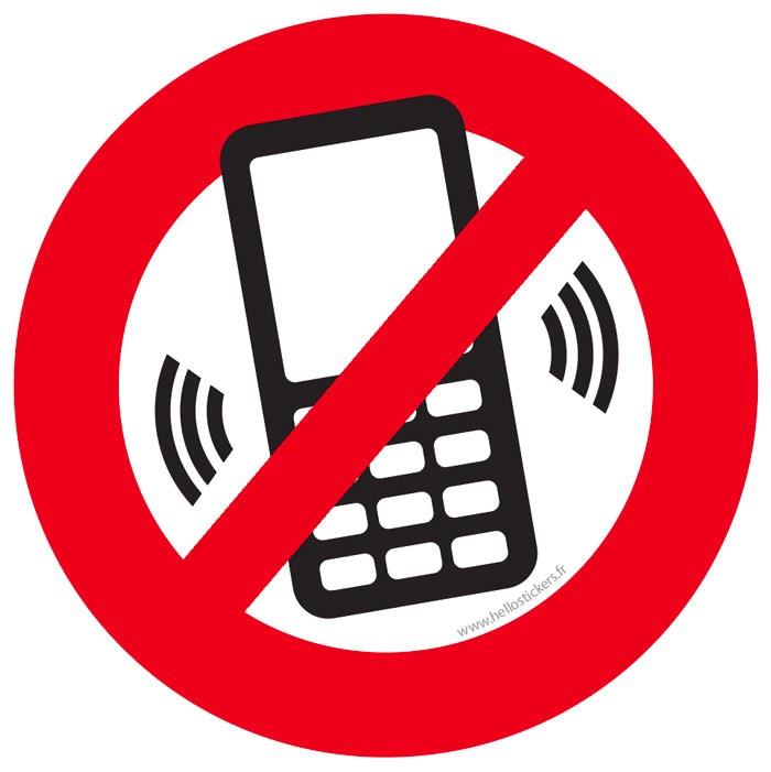 sticker / autocollant téléphone portable interdit - ref 031021b