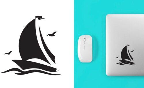Sticker autocollant silhouette de bateau voilier avec mouettes – ref 031021