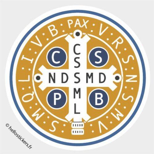 Sticker autocollant Saint Benoit médaille symbol de protection – réf_241021
